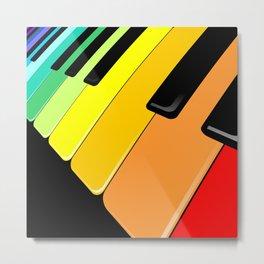 Piano Keyboard Rainbow Colors  Metal Print