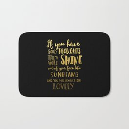 Good thoughts - black and gold Bath Mat