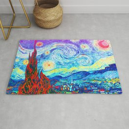 Psychedelic Starry Night Abstract Van Gogh Rug