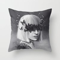 sia Throw Pillows featuring 100 Forms of Fear / Sia by Nicolas Jamonneau