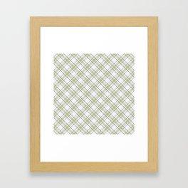 Diagonal tartan gray and yellow over white Framed Art Print