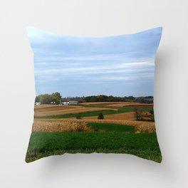 Autumn farm in Wisconsin's driftless region Throw Pillow
