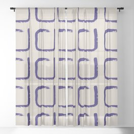 Imperfect Squares Minimal Geometry Indigo Sheer Curtain