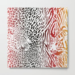 Tiger and Leopard and color pattern background Metal Print