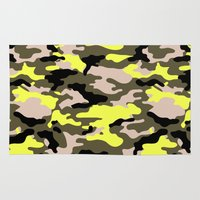 camouflage Area & Throw Rugs featuring camouflage by RIZA PEKER