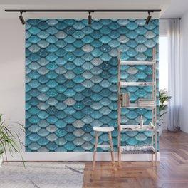 Luxury Turquoise Mermaid Sparkling Glitter Scales - Mermaidscales Wall Mural