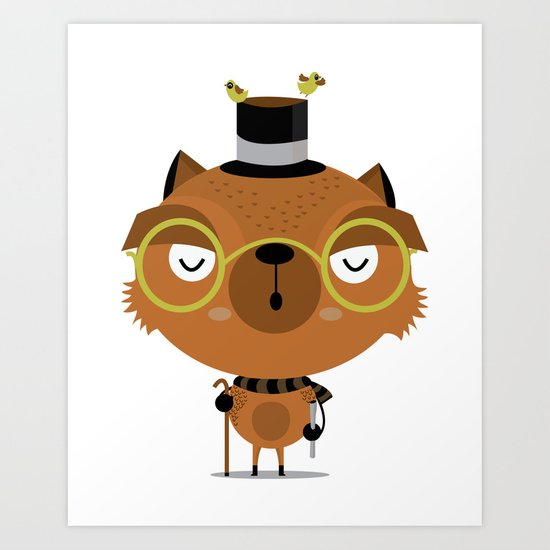 Cat with hat Art Print