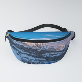 Winter sunset in the italian alps Fanny Pack