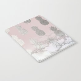 Golden Pineapple Madness on Marble Notebook