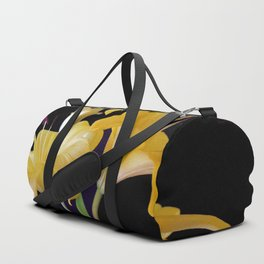 Yellow Lily Duo On Black Duffle Bag
