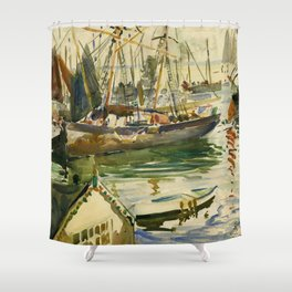 Ships in Harbor coastal nautical landscape painting by Hayley Lever Shower Curtain
