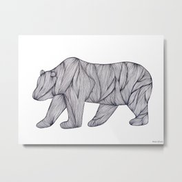 Line art bear Metal Print