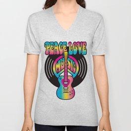 Peace Love Music Vinyl Unisex V-Neck