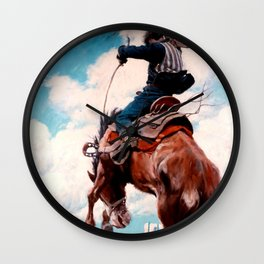 "Vintage Western Painting ""Bucking"" by N C Wyeth Wall Clock"