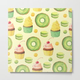 Green Yummy Donuts and Cupcakes Metal Print