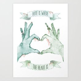 Romantic Zombie, Home Is Where The Heart Is Art Print