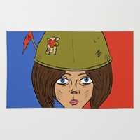 army Area & Throw Rugs featuring Army Girl by ConnorEden