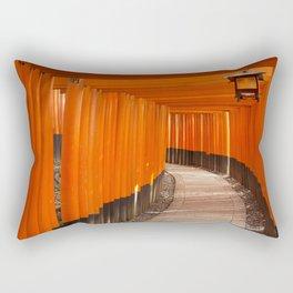 Torii gates of the Fushimi Inari Shrine in Kyoto, Japan Rectangular Pillow