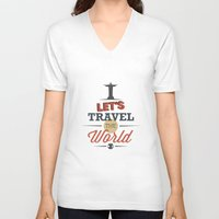 travel poster V-neck T-shirts featuring TRAVEL by Anthony Morell
