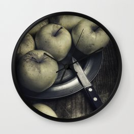 Still life with green apples Wall Clock