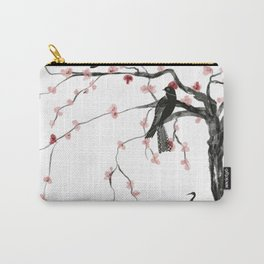 Birds and cherry blossoms- Chinese inspired painting- black and red, cherry  colours Carry-All Pouch
