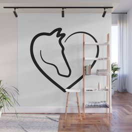 Heart with horse head Wall Mural