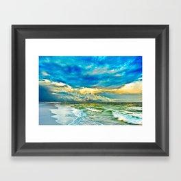 Blue Grean Fine Art Print Painted Seascape Framed Art Print