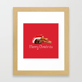 Dogue De Bordeaux Santa Hat Merry Christmas Framed Art Print