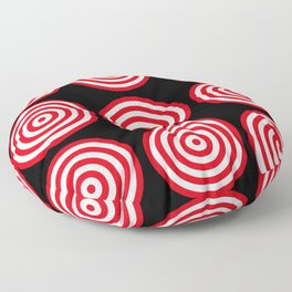 Red targets on black background Floor Pillow