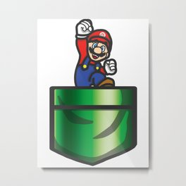 Mario Pipe Pocket Metal Print