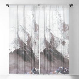 Panoramic View Of Everest Mountain Painting Sheer Curtain