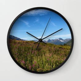 Fire weeds in Alaska within the Denali park Wall Clock