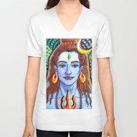 shiva V-neck T-shirts featuring Shiva Pop by Deepak Puri