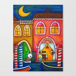 Venice Romance Dogs Canvas Print