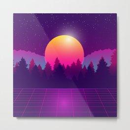 Amazon Rainforest Sunset Synthwave Metal Print