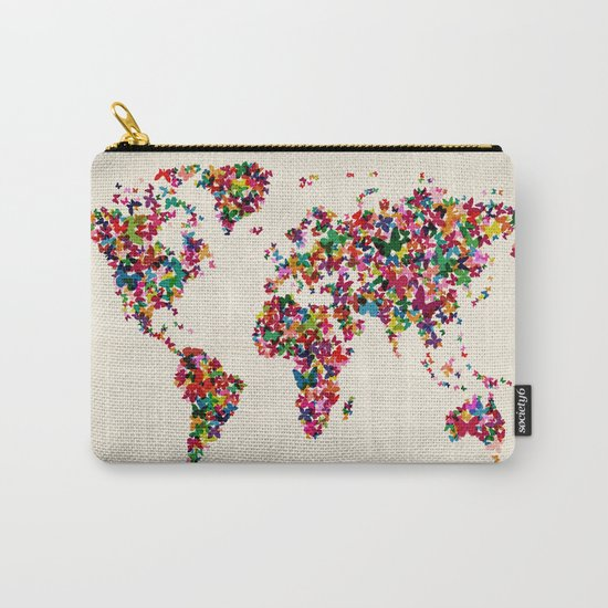 Butterflies Map of the World Map Carry-All Pouch