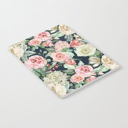 Country chic navy blue pink ivory watercolor floral Notebook