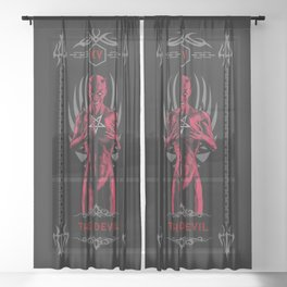The Devil XV Tarot Card Sheer Curtain