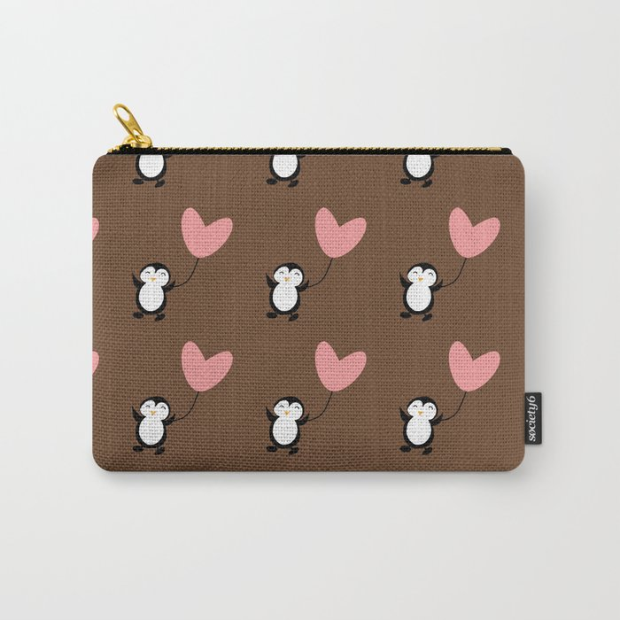 Penguin in love Brown Carry-All Pouch
