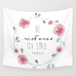 He Restores My Soul. Psalm 23:3, bible verse, watercolor flowers Wall Tapestry