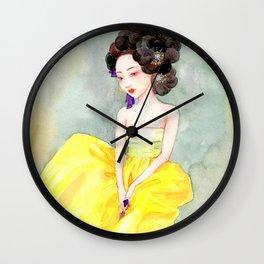 Watercolor Korean beauty - Yellow Wall Clock