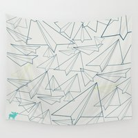 planes Wall Tapestries featuring Paper planes by PupKat