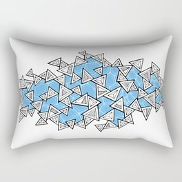 Triangles and Tessellation in Blue Rectangular Pillow