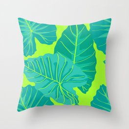 Giant Elephant Ear Leaves in Neon Lime Green Throw Pillow