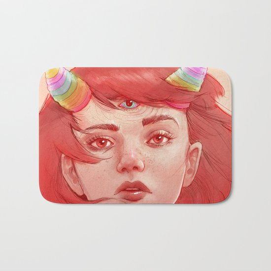 Red girl with horns Bath Mat