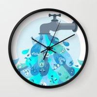 splash Wall Clocks featuring Splash by Lienke Raben