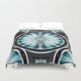 Pinwheel Hubcap in Aqua Duvet Cover