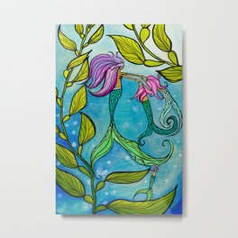 Mermaid Mama Ocean Art by Lauren Tannehill Art Metal Print