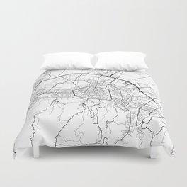 Bologna Map, Italy - Black and White Duvet Cover