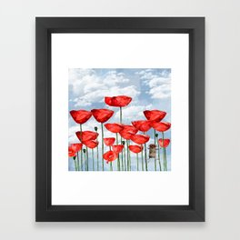 Mouse and poppies on a cloudy day Framed Art Print